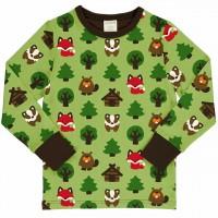 Wald Tiere Shirt langarm grasgrün