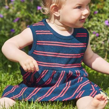Flatter Kleid Leinen ohne Arm dunkelblau