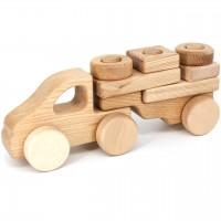 Steckspielzeug Holzauto mit Anhänger – ab 10 Monaten
