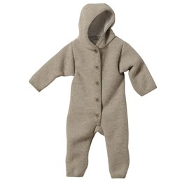 Baby Walk Overall 100% Merino Schurwolle mit Kapuze - grau