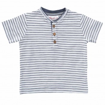 T-Shirt Knopfleiste Ringel anthrazit