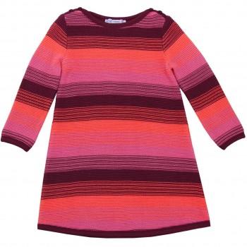 Hochwertiges Strickkleid Streifen in pink