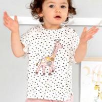 Slub T-Shirt Giraffe Flügelärmelchen weiß