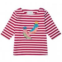 Shirt mit 3/4 Ärmelchen Streifen rosa Papagei