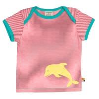 Gestreiftes leichtes T-Shirt Delfine corale
