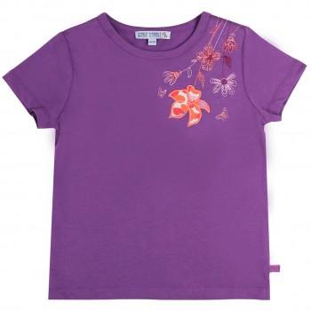 Shirt kurzarm lila Blumen gestickt