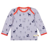 Wolle Baumwolle Shirt Waldtiere grau