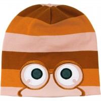 Beanie Augen im Block-Design in orange-braun-altrosa