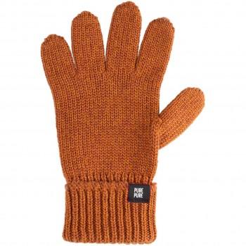 Fingerhandschuhe Umschlagbund Wolle Seide karamell