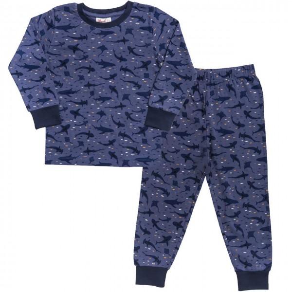 Leichter Jungen Schlafanzug Haie in dunkelblau