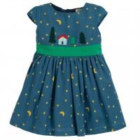 Sternen Kleid in dunkelblau mit Schleife