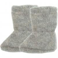 Wolle Babyschuhe als Socke in grau