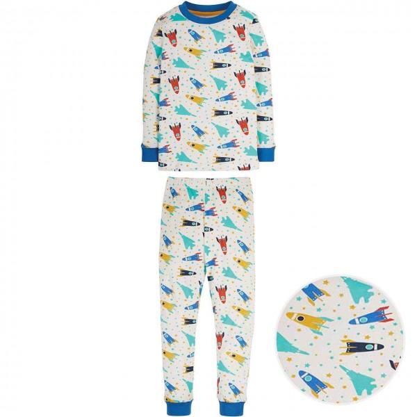 Schlafanzug mit Raketen blau