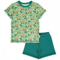 Kurzer Sommer Schlafanzug Füchse hellgrün