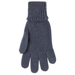 Fingerhandschuhe mit Umschlagbund Wolle Seide anthrazit