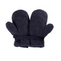 Bio Schurwolle Fleece Baby Handschuhe - grau anthra