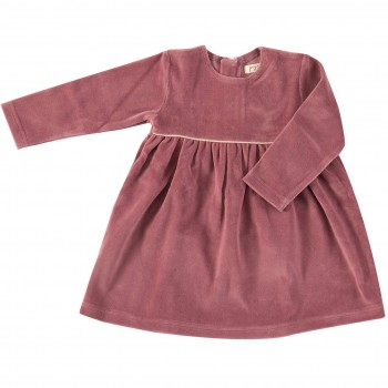 Warmes langarm Kleid Velour rosa