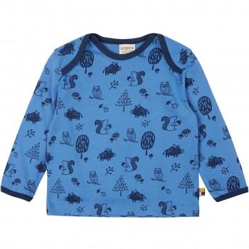 Leichtes Shirt langarm Waldtiere blau