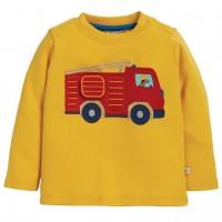 Shirt langarm Feuerwehrauto Aufnäher gelb