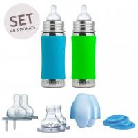 Geschenkset 2 Edelstahl Flaschen ab 3 Monate grün blau