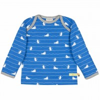dickes Langarmshirt blau Pinguine + Robben
