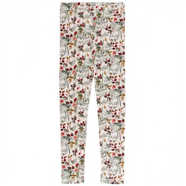 Edle Leggings elastisch Winterblumen in creme