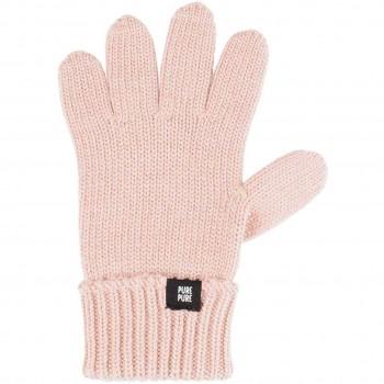Fingerhandschuhe Umschlagbund Wolle Seide rosa