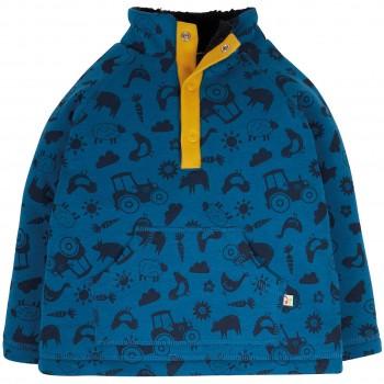 Plüsch Pullover Farm-Motive blau