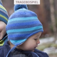 Weiche Wintermütze - Wolle, Seide & Biobaumwolle blau