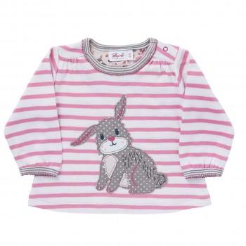 etwas dickeres Shirt Hase pink geringelt