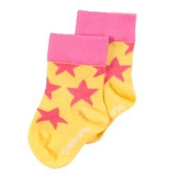 Bio Kindersocken Sterne breiter Bund pink gelb