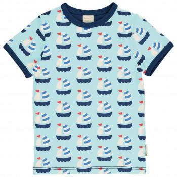 Kurzarmshirt Segelboote hellblau