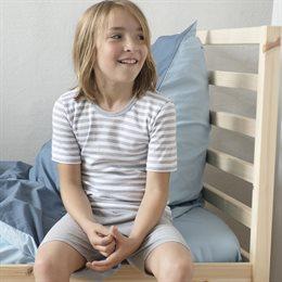 Shirt für Jungen & Mädchen - sportlich - grau gestreift