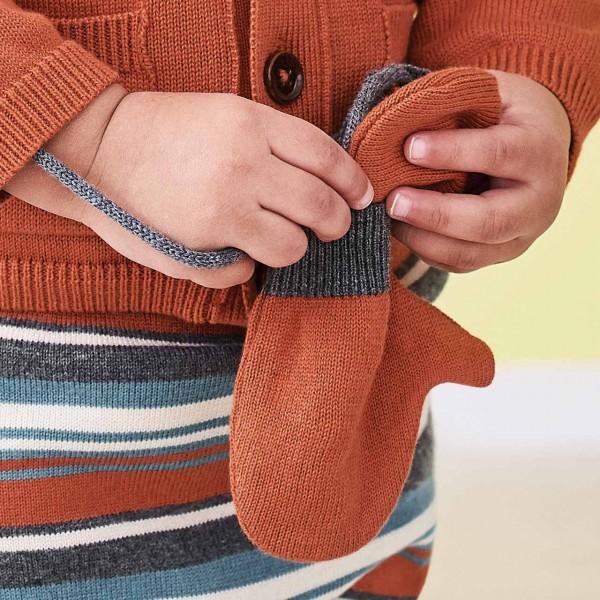 Baby Strick Fäustel mit Verbindungsband in orange