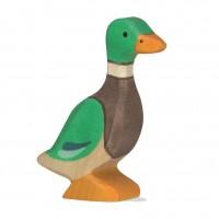 Holzfigur Ente Erpel - auf dem Bauernhof