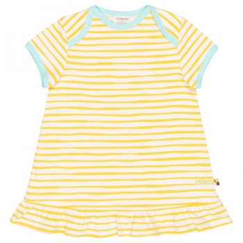 Streifen Kleid kurzarm gelb