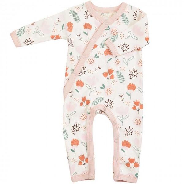 Baby Strampler mit Fußumschlag - Blumen