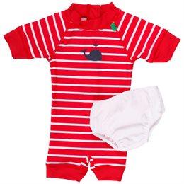 Baby Badeanzug rot gestreift unisex