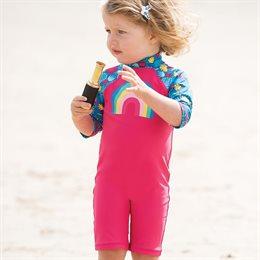 Mädchen Badeanzung mit Regenbogen in pink