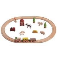 Holz Eisenbahn Set Bauernhof 25 Teile