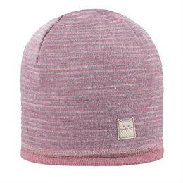 Wolle Seide Beanie doppellagig atmungsaktiv rosa grau