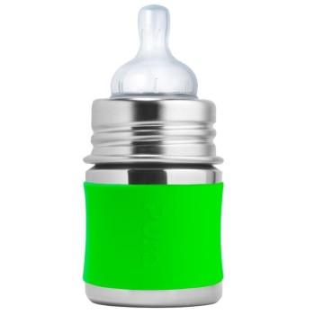 Pura kiki Babyflasche Edelstahl mit langsamen Sauger - grün