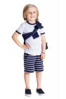 T-Shirt Wellen navy-weiß