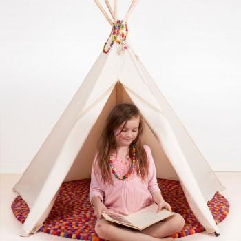 Kinder Tipi Bio Baumwolle 135 x 135 x 150 cm weiss
