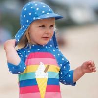 Bademütze Nackenschutz Punkte blau