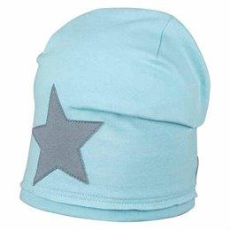 Coole Kinder Beanie leicht Stern hellblau
