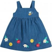 Kleid in jeans-blau Blumen Träger