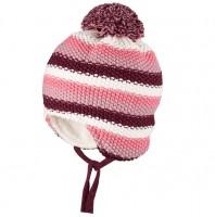 Winter Babymütze aus Biobaumwolle Wolle Seide rosa