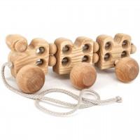 Nachziehtier Raupe aus Holz für Kinder