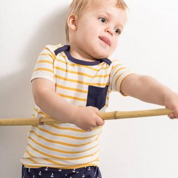 Babyshirt kurzarm gelb Streifen